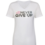"Click here for more information about ""We Will Never Give Up"" V-Neck"